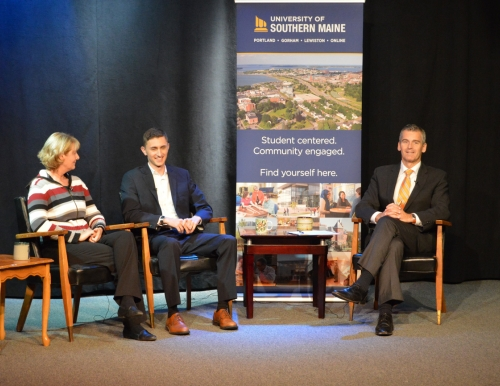 "Photo of Lorrie Spaulding, coordinator of USM Veterans Services, senior student-veteran Seth Adams and USM President Glenn Cummings on the set of ""The USM Update"""
