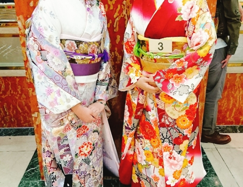 Anju Roy, left, is pictured here during the 2017 Tokyo Kimono Queen Contest