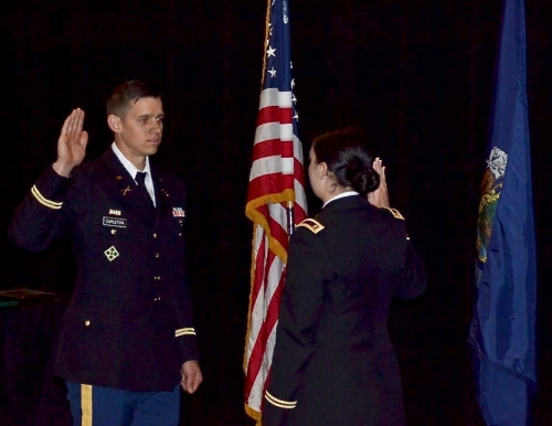 Bryan Carleton sworn in Army as a second lieutenant