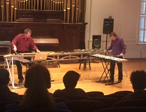 Paul Dresher and Joel Davel performing as the Invented Instrument Duo