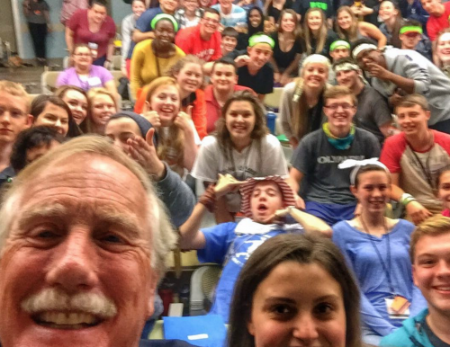 Instagram image of Sen. King with Maine students