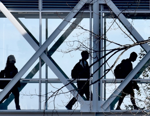 Image of students on the Portland Campus skywalk