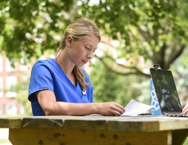 Nursing student studying