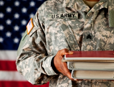 veteran with books