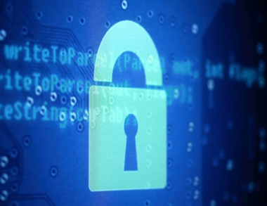 Stock image of a digital padlock on top of computer code