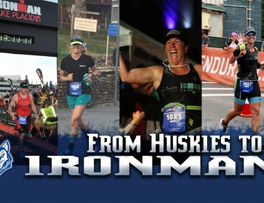 Image of four USM student-athlete alumni completing Ironman Lake Placid