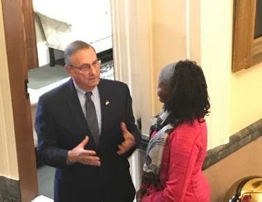 Social Work Student speaks with the Governor of Maine