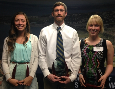 Winners Samantha Davol, Sean Caddigan, and Katherine LaGassie