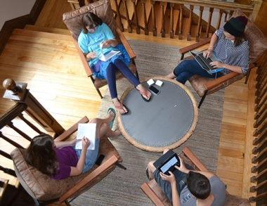 Maine students work on writing projects during a Young Authors Camp, hosted by the Southern Maine Writing Project.
