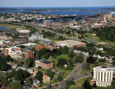 aerial view of portland, me