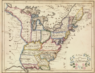 """A Map of the United States,"" from Catharine M. Cook's Book of Penmanship, made in Windsor, Vermont, in 1818."