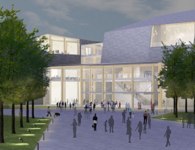 Architect's conceptual rendering of USM Center for the Arts