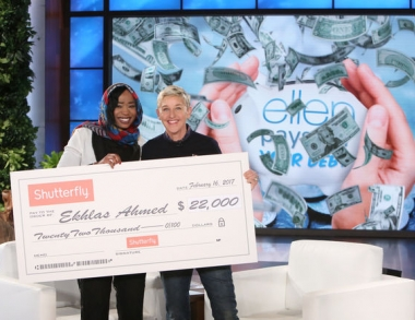 Ellen DeGeneres with Ekhlas Ahmed