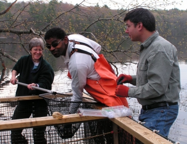 Env Science Prof Theo Willis fishing for alewives