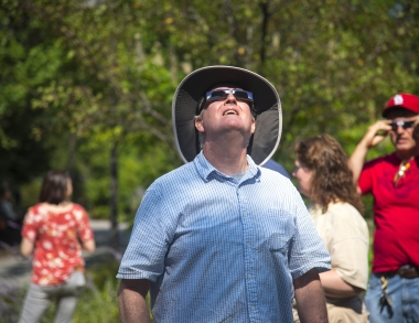 Crowds came to USM's Portland campus to view the solar eclipse Monday