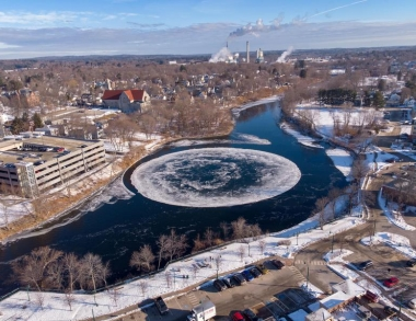 Westbrook floating 'ice disk' courtesy of Maine Public