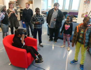 Portland Housing Authority study center students experience virtual reality environments.