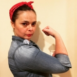 Image of Hope dressed as Rosie the Riveter