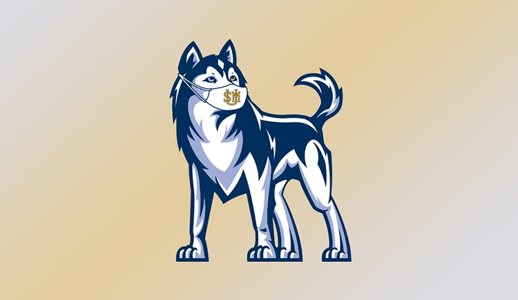 Our husky mascot wearing a USM mask