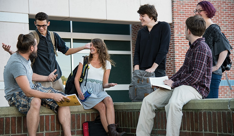 Students on the USM Portland campus