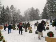laying wreaths at Togus