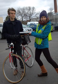 USM Electronic Waste Recycling Day - Bike delivery of a dead laptop
