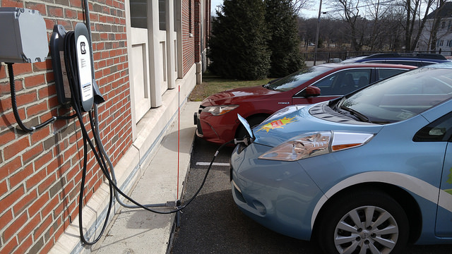 Electric vehicle powers up at USM's first EV charging station