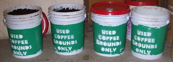 University of Southern Maine used coffee ground collection and recycling program - buckets of grounds