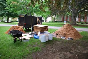 Materials for sheet mulching and installation of the food forest garden at USM