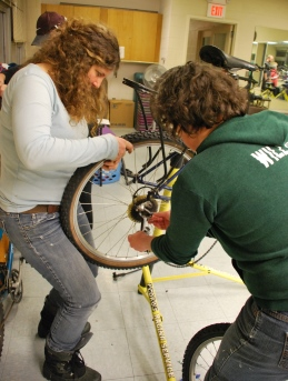 Students, faculty, staff, and community members learned about the basics of bicycle care