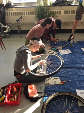 Faculty, staff, students, and community members learned about basic bicycle care