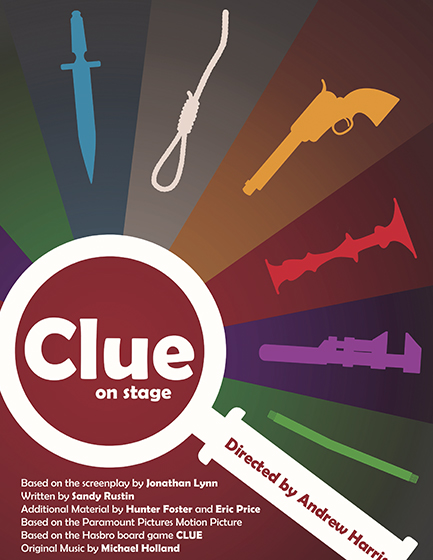 Images of murder weapons and a magnifying glass over the words Clue on stage