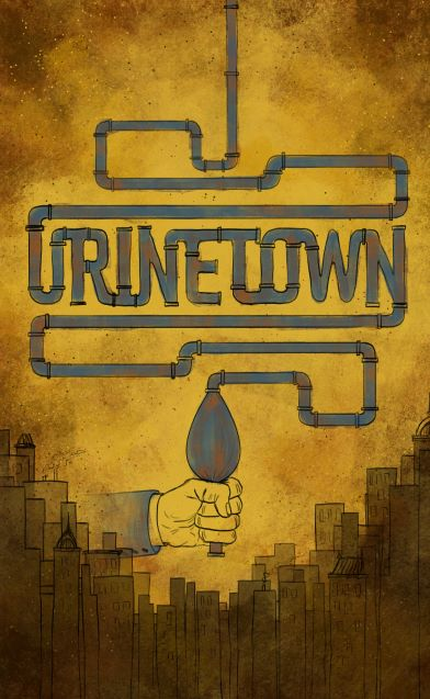 A hand holding pipes that spell the word Urinetown