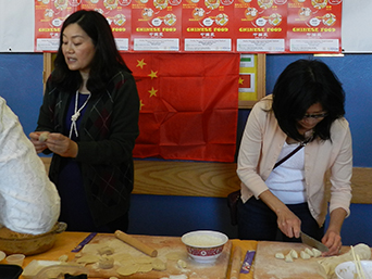 Chinese dumpling demonstration