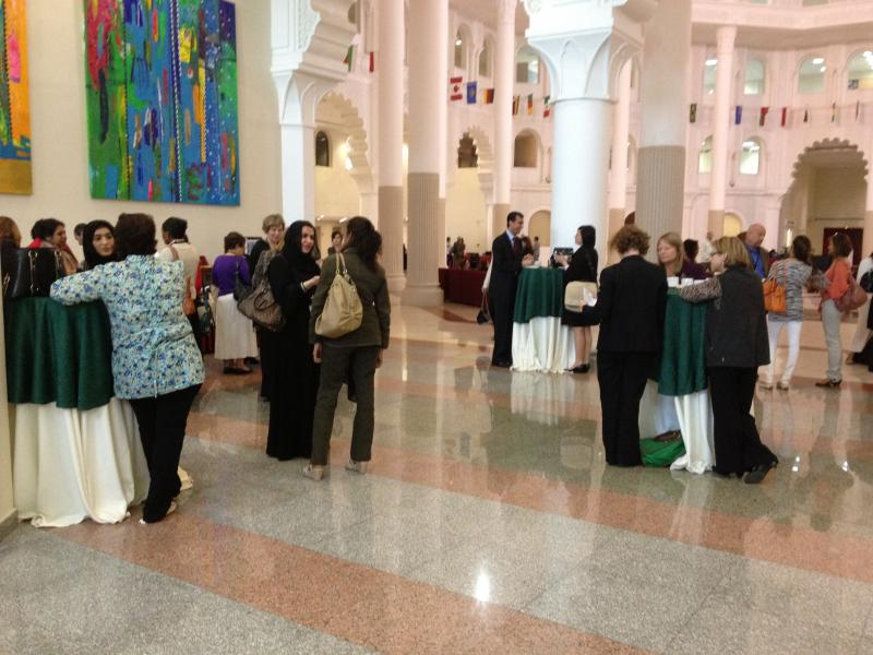 conference participants at break