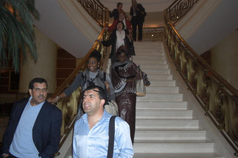 Conference participants on staircase
