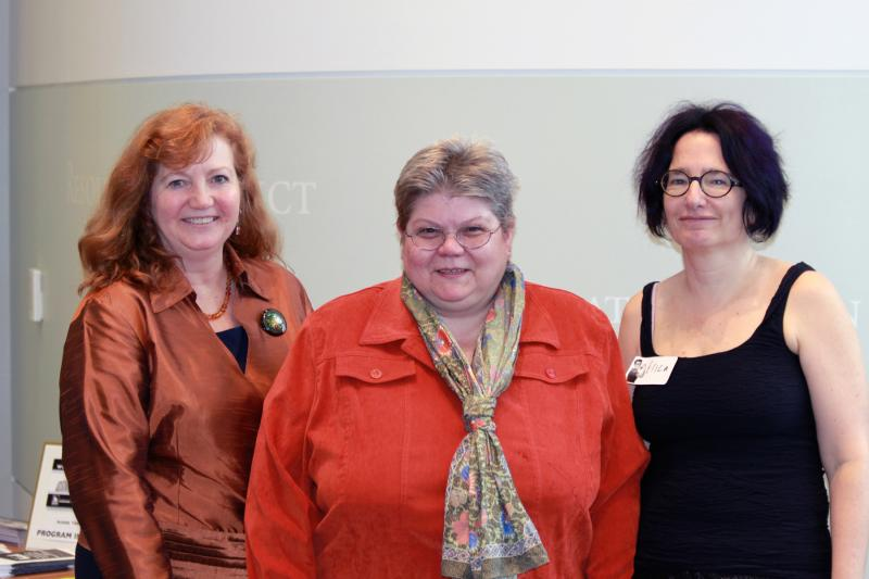 Laura Fortman (Executive Director of the Frances Perkins Center), Susie Bock (Head of Special Collections, USM Libraries) and Erica Rand (Erica Rand, Professor of Art and Visual Culture and Women and Gender Studies, Bates College)