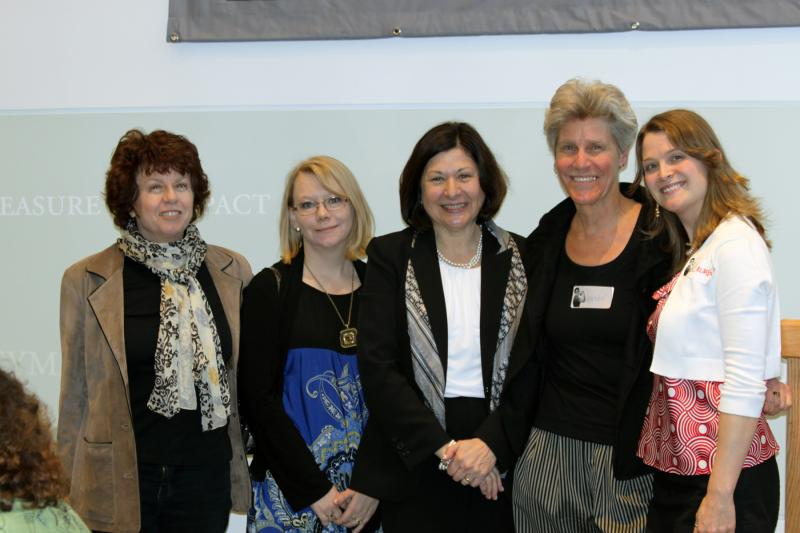 Susan Feiner, Sharoo Wengland, Selma Botman (USM President), Wendy Chapkis (Director of Women and Gender Studies), and Lauren Webster