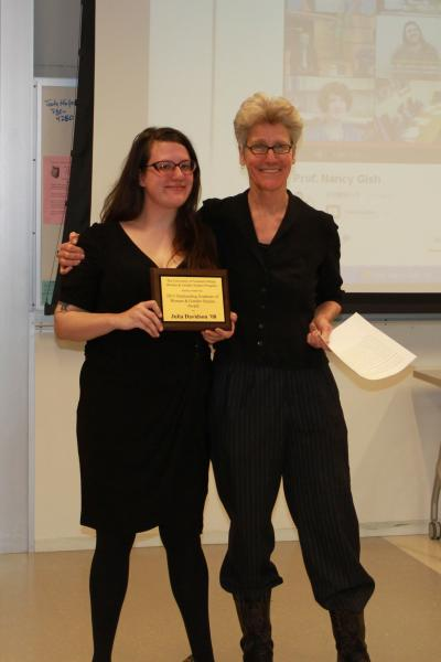 Julia Davidson, 2013 Outstanding Graduate of Women and Gender Studies Award and Wendy Chapkis, Director of WGS